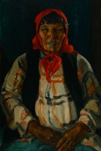 Edith Collier (New Zealand, b.1885, d.1964), Mrs. Ponui, Kawhia, 1927, oil on hardboard. Collection of the Sarjeant Gallery Te Whare o Rehua Whanganui, Gift of Mrs H White, 1972. 1972/2/1. This work was conserved with the generous support of Harry Tooman in 2004.