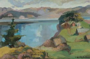 Edith Collier (New Zealand, b.1885, d.1964), Kawhia Scene, circa 1927, oil on board. Collection of The Edith Collier Trust. On long term loan to the Sarjeant Gallery Te Whare o Rehua Whanganui. 1/48.