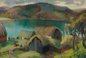 Edith Collier (New Zealand, b.1885, d.1964), Maketu Pa, Kawhia, circa 1927, oil on canvas. Collection of The Edith Collier Trust. On long term loan to the Sarjeant Gallery Te Whare o Rehua Whanganui. 1/29.