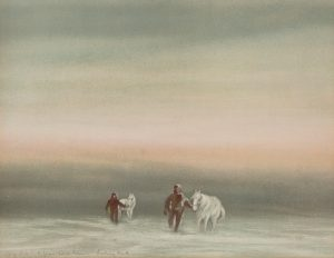 Dr Edward Wilson (b.1872, d.1912), Exercising The Ponies, Cape Evans, Looking North, August 8, 1911, 3pm, 1911 print based on original watercolour. Collection on the Sarjeant Gallery Te Whare o Rehua Whanganui. 1957/4/11.