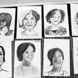 Portrait drawing, Wanganui Girls, 2013