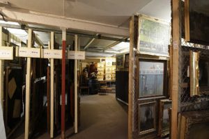 Basement storage at the Sarjeant Gallery.