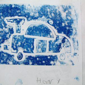 cardboard relief print, James Cook School, 2006