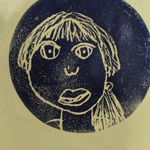 self portrait, relief print, 2014